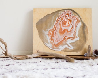 Abstract agate painting, original poured painting on 16X20X1.5 inch wood panel