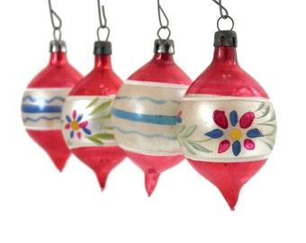 Antique Christmas Mercury Glass Ornaments Set of 4 Hand Painted Teardrop