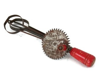 Miniature Hand Mixer Beat Anything Egg Beater with Red Wooden Handle