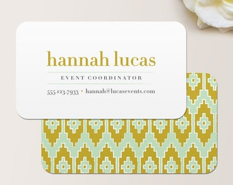 Ikat Business Card / Calling Card / Mommy Card / Contact Card - Event Planner Business Card, Business Cards, Modern Business Cards