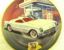 Franklin Mint Collector Plate 53 Corvette Signed Donald R Wieland 24 K Gold Banded