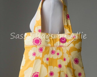 Pleated Floral Print Purse-Yellow and Bright Pink-Large Shoulder Bag-Hibiscus Print