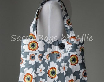 Pleated Floral Print Purse-Gray, Yellow, and Orange-Large Shoulder Bag