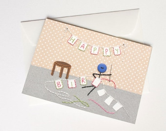 NEW Happy Birthday Card with Mr. Buttonman