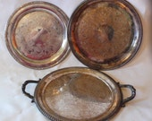 Vintage Silver Plate Round Trays Lot of 3  International Silver Co. Camille 6070, Castleton 4871  F. Rogers Silver Co 2361
