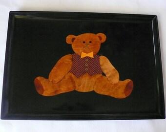 Vintage Couroc Monterey California Wood Inlaid TEDDY BEAR Tray Rare Orange Bow Tie and Vest