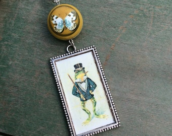 Frog and the Butterfly Necklace/Pendant/Woodland/Storybook/Victorian/Edwardian
