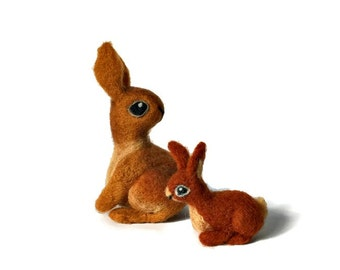 Rabbit Pair Soft Sculpture Set, Mother and Baby Rabbit Figurines