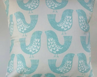 "Cushion Cover in Vintage Aqua Blue Scandi Birds 14"" 16"" 18"" 20"""