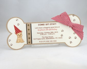 10 Puppy Party Bone Shaped Invitations with Custom Wording