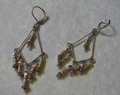 Bali Silver, Sterling and Hill Tribe Silver Chandelier Earrings