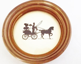 Vintage Silhouette, Man and Woman on Horse and Carriage  Framed