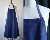 Indigo cotton apron , Workwear, Vintage 1950's
