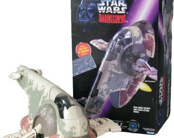 1996 Shadows of the Empire Star Wars Boba Fett's Slave I with Han Solo in Carbonite Shadows of the Empire toy, Antique Alchemy