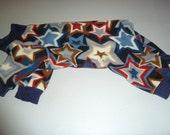 Small, Medium, Large Fleece Doggy Pajama, Patriotic Stars PJs,  Doggy Onesie, Red, White and Blue Pajamas