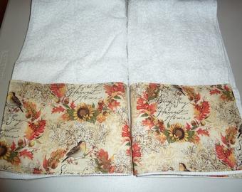Harvest Home Decorative Hand Towels (Set of 2)  for Kitchen, Bath or Powder Room