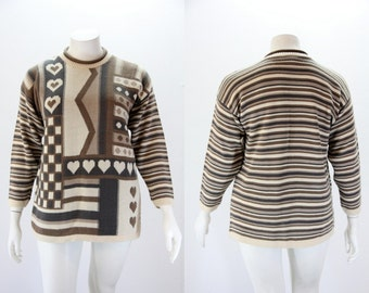 Plus Size Sweater - Vintage Hearts and Stripes Sweater