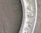 Oval Carved Rose Frame Painted White Frame