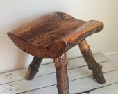 Vintage wood stool / handmade wooden stool / tripod wood stool / gift for her / gift for him / small stool / reclaimed wood stool
