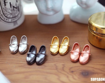 Supabonbon Blythe Licca Azone Silver Mary Janes Shoes Accessories Dollhouse
