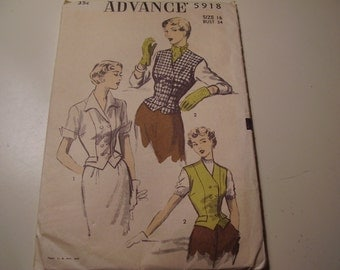 Vintage 1950's Advance 5918  Blouse Sewing Pattern, Size 16, Bust 34
