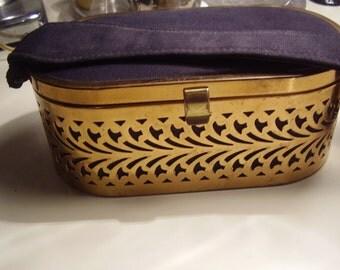 Final SALE  Vintage 1940's, 50's Brass and Black Fabric Handbag Purse