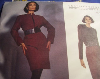 Vintage 1990's Vogue 2984 Geoffrey Beene Jacket and Dress Sewing Pattern, Size 8-10-12, Bust 31 1/2, 32 1/2, and 34