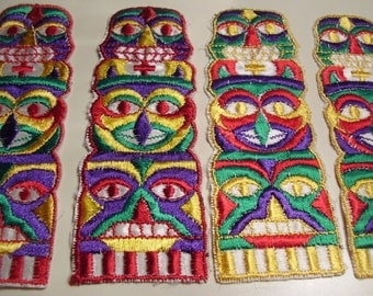 Vintage 1970's? Bright Color Totem Fabric Appliques