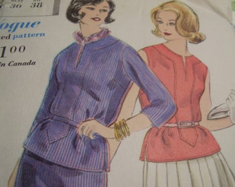 Vintage 1960's Vogue 5148 Two Piece Dress Sewing Pattern, Size 16, Bust 36