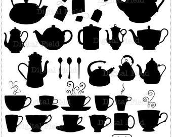 Tea silhouette clip art set  - teapot & teacup printable digital clipart - instant download