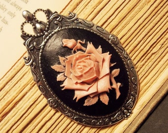 Pink and Black Rose Cameo Brooch