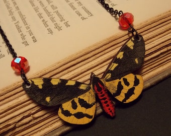 Black and Yellow Wooden Butterfly Statement Necklace