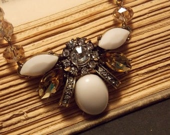 White and Brown Firefly Necklace