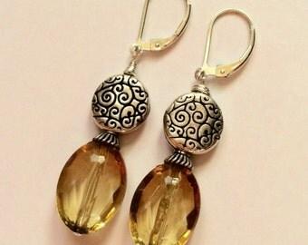 Golden Glass Beaded Earrings On Sterling Silver Leverbacks