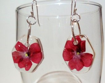 Dual Flowers: Purple Magenta Pressed Flower Resin Earrings
