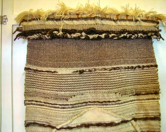 1970's NY Artist Colony Weaving, Wall Hanging, Weaving, Wool, 1970's, Brown, Ecru, Large, NY, Hand Woven, MCM, Organic, Textile, Fiber Art