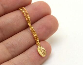Tiny Leaf Bracelet - Gold Leaf Bracelet - Charm  Bracelet - Gold plated Leaf bracelet - Ball chain bracelet