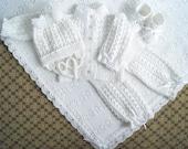 Baptism set. Christening set. Knitted Sweater, Pants, Hat, Booties and blanket with fleece lining Set. White set. Blanket set.