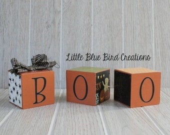 Boo wood blocks - halloween decor - happy halloween - wood blocks - stacked wood blocks - cube - fall decor