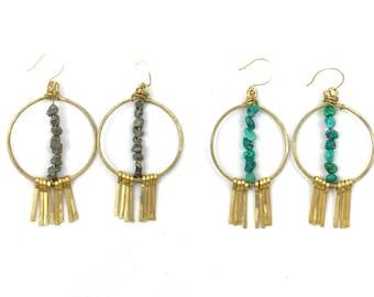 Turquoise Pyrite Brass Dreamcatcher Fringe Earrings // AVILLA Signature Hoops / Hammered Brass Earrings / Bohemian Earrings