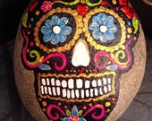 Sugar Skull Hand Painted Stone Day of the Dead Home Garden Halloween Decor