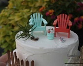 New CORAL or SEA MIST Beach Theme Wedding Cake Topper Classic Adirondack Chairs, Flip Flops and Bucket - by Landscapes In Miniature