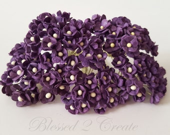 10 Itty Bitty Deep Purple Sweetheart Blossom Mulberry Paper Flowers