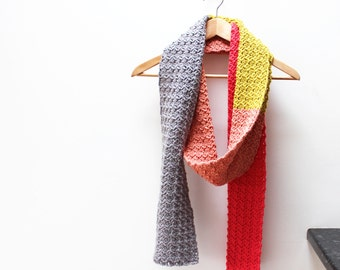 Crochet Scarf Pattern +Instant Download+ Rebecca Colour Block Scarf (pdf file)