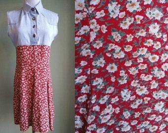 1990's Grunge Revival Dress - 90's Denim Floral Dress - Small S - Vintage Express Dress -