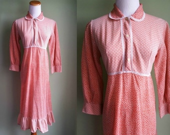 sale / 1960's 70's Creamsicle Dress - Vintage Hippie Dress - Stars & Flowers - Medium M