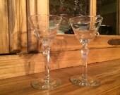 1960s Libbey - Rock Sharpe Windswept Liquor Glass Wedding Toasting Glasses