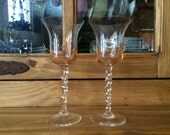 Vintage Wedding Toasting Glasses in a Peach Mist Color