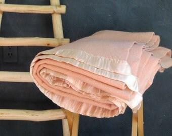 Vintage Pale Pink Wool Blanket Twin 57 x 78