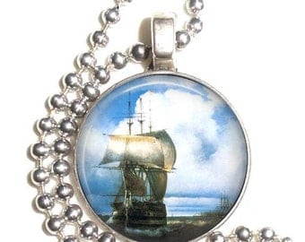 Great Roads at Kronstadt 1836 Art by Ivan Konstantinovich, Sailboat Photo Pendant, Earrings and/or Keychain, Silver and Resin Charm Jewelry